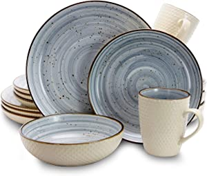 Elama Round Stoneware Luxurious Mellow Dinnerware Dish Set, 16 Piece, Speckle Powder Blue and White