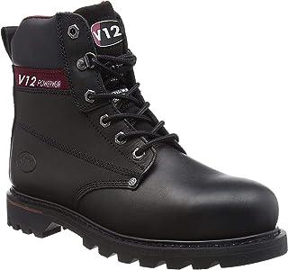 V12 Boulder, Black Hide Derby Safety Boot, 08 UK 42 EU, Black