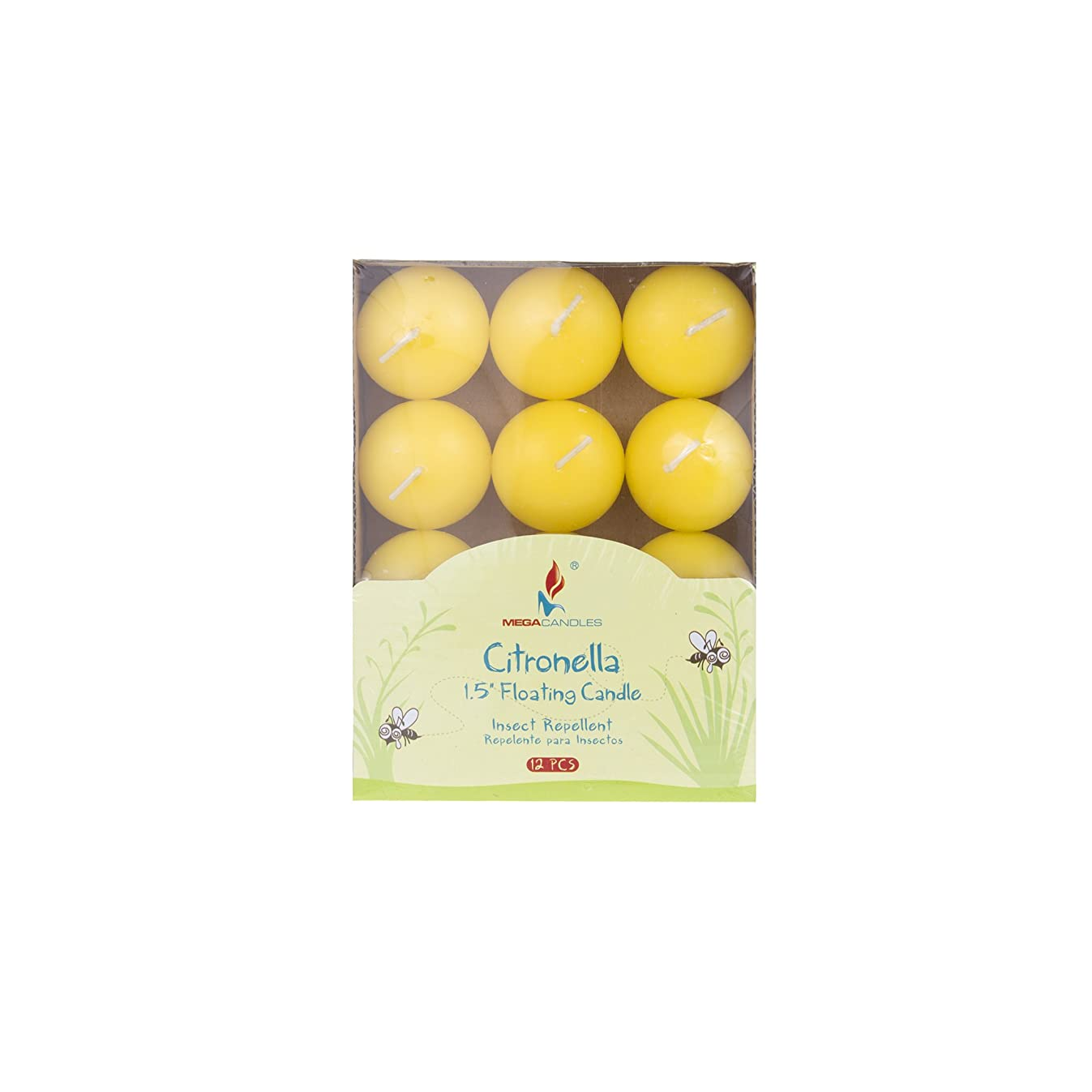 Mega Candles 12 pcs Citronella Floating Disc Candle   Hand Poured Paraffin Wax Candles 1.5