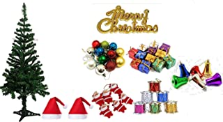 The Click India Christmas Tree Xmas Decorations Item Balls Shanta Clous Bells Gifts Drums Snow Stars Candy Sticks Caps Can...