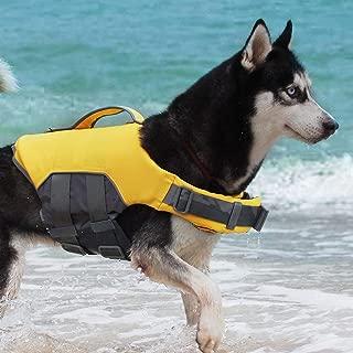 ThinkPet Dog Life Jacket, Reflective Lifesaver with Rescue Handle, Adjustable Floating Vest,High Buoyancy Aid Dog Saver