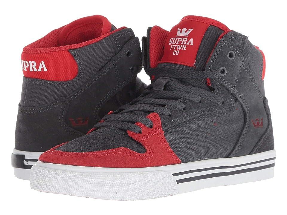 Supra Kids Vaider (Little Kid/Big Kid) (Dark Grey/Risk Red/White) Boys Shoes