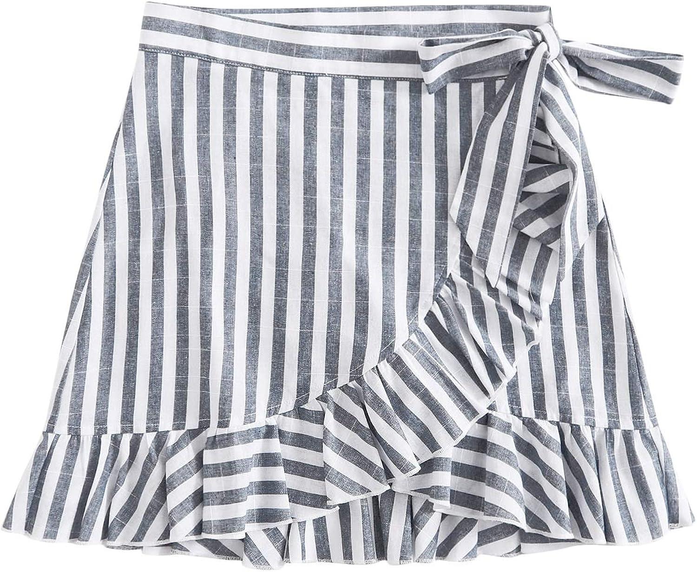 Milumia Women High Waist Ruffle Hem Knot Side Mini Skirt Asymmetrical Wrap Skirt