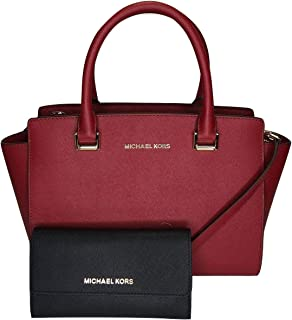 MICHAEL Michael Kors Selma MD TZ Satchel bundled with Michael Kors Jet Set Travel Large Trifold Wallet