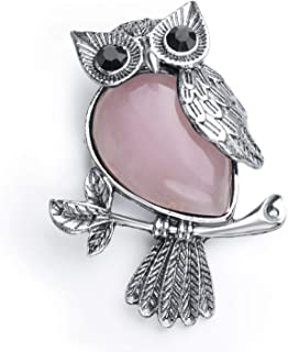 JXMYBA Owl Pendant Necklace Meditation Healing Gem Crystal Pendant Women's Men's Owl Brooch with Stainless Steel Chain with Gift Box