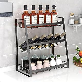 Freshtour Étagère à épices en métal - 3 niveaux - Grande capacité - Sans perçage - Pour la cuisine - Pour le plan de trava...
