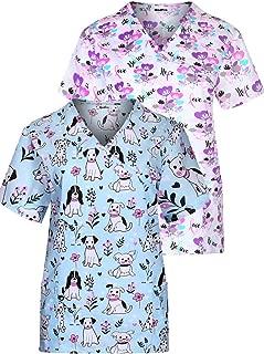 MedPro Women's Printed V Neck Medical Scrub Top Multi Pack ASTD:Pink,Purple M