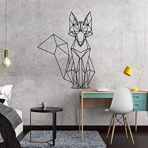 Nordic Geometric Fox Vinyl Wall Stickers Decals For Kids Rooms Home Bedroom Decor Living Room Decoration Mural Wallstickers A2 43x51cm