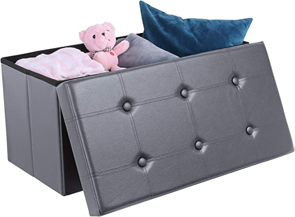 Homfa 30 Inches Ottoman Bench With Storage Faux Leather Storage Ottoman Toy Box Foot Rest With Flipping Lid 30 Inches X 15 Inches X 15 Inches Dark Grey