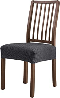 subrtex Dining Room Chair Seat Slipcovers Removable Washable Elastic Cushion Covers 2 Pieces Set of High Stretch Furniture Protector (Gray), 2PCS, without Ribbon