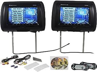 "Rockville RVD951-BK 9"" Black Dual DVD/USB/HDMI/SD Car Headrest Monitors + Games"
