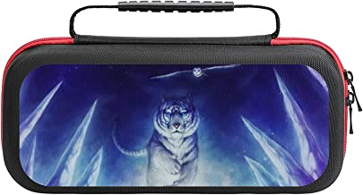 $22 » Art White Tiger Running Owl Fying Game Bag Switch Travel Carrying Case for Personalized Design Switch Lite Console and Acc...