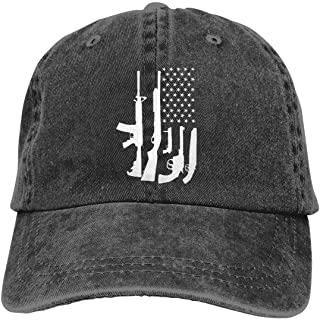 Waldeal Men's American Flag with Machine Gun Hat Washed Adjustable Baseball Ca