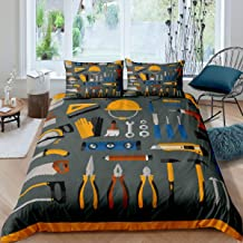 Worker Construction Hat Comforter Cover Queen Ruler Brush Bedding Set Tool Box Duvet Cover for Boys GirlsBedspread Cover R...