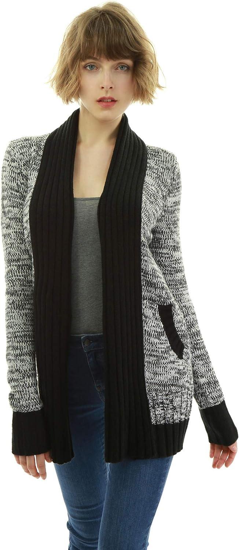 AmélieBoutik Women Shawl Open Front Marled Sweatercoat Cardigan