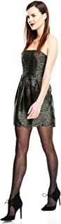 Ya Los Angeles Strapless Fit-and-Flare Dress, Small, Black/Gold