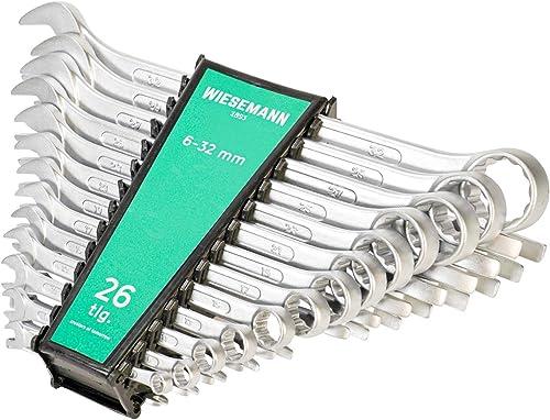 Set chiavi con forchetta e anello da 26 pezzi 6-32 mm   WIESMANN 80270   set chiavi per viti con supporto per trasporto