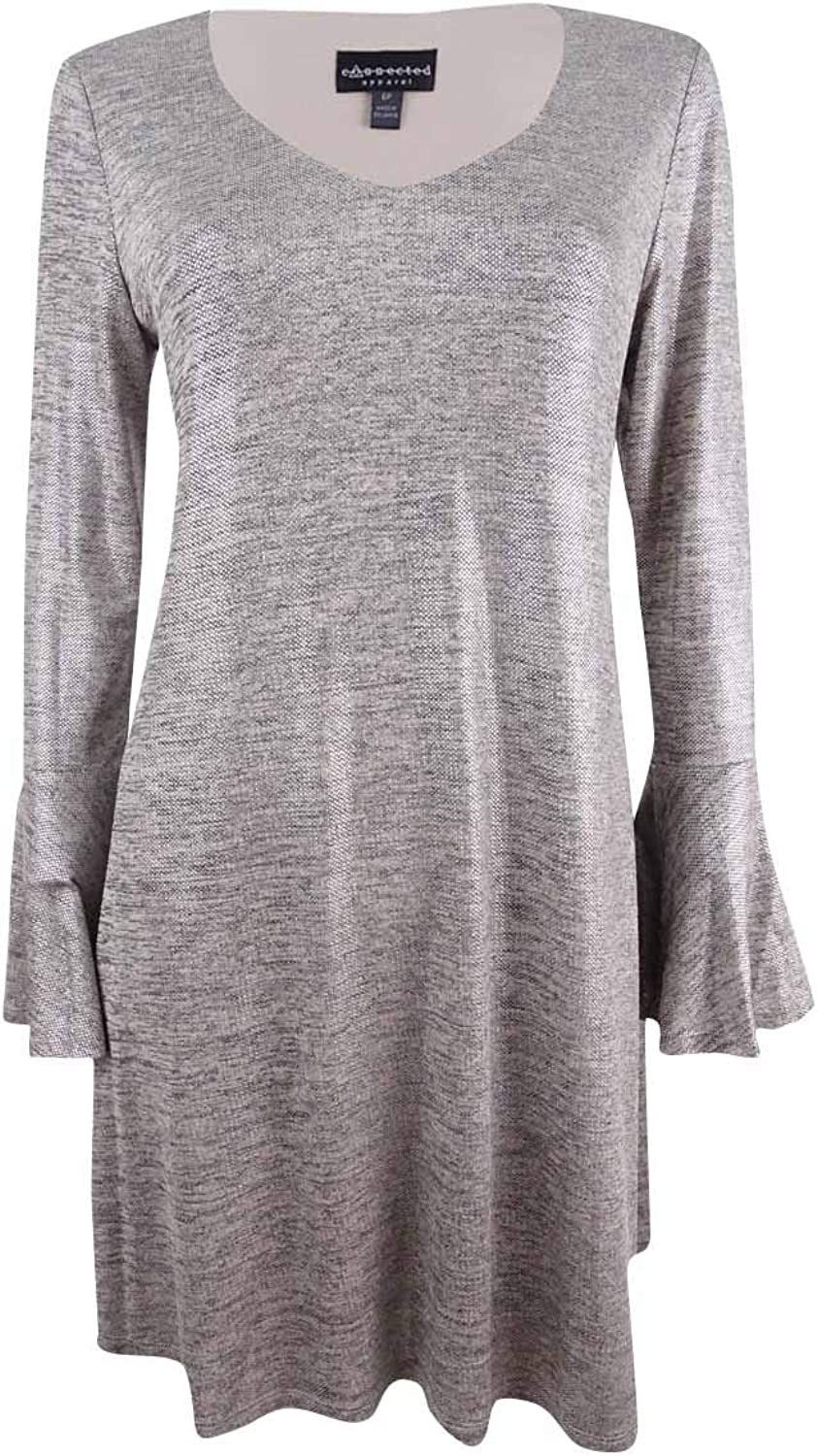 Connected Apparel Womens Petites Metallic Textured Party Dress Taupe 4P