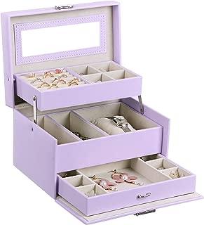 BEWISHOME Girls Jewelry Box Jewelry Organizer with Lock Mirror Jewelry Display Storage Case Holder Portable Travel Case for Women Girls Kids Purple SSH77P