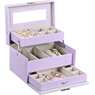 BEWISHOME Girls Jewelry Box Jewelry Organizer with Lock Mirror Jewelry Display Storage Case...