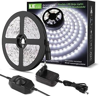 comprar comparacion LE LED Luces de Tiras Regulables, 5M 1200lm, Blanco Frío 6000K, 300 LEDs, Enchufe en la tira de luz para gabinete, armario...
