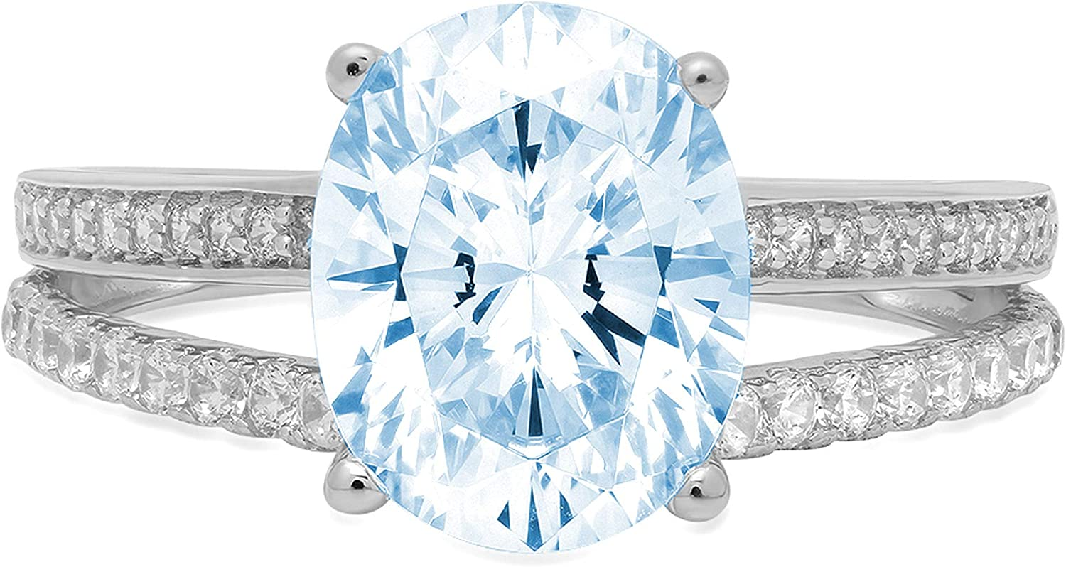 2.04ct Oval Cut Solitaire with Accent split shank Natural Sky Blue Topaz Gem Stone Ideal VVS1 Engagement Promise Statement Anniversary Bridal Wedding ring 14k White Gold