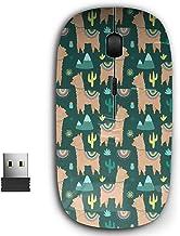 2.4G Ergonomic Portable USB Wireless Mouse for PC, Laptop, Computer, Notebook with Nano Receiver ( Beige Llamas Alpacas )