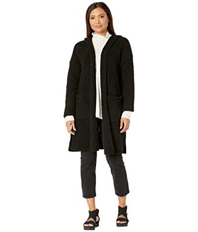 Eileen Fisher Hooded Long Cardigan (Black) Women