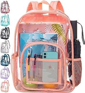 حقيبة ظهر شفافة، حقيبة ظهر عالية التحمل للنساء، حقائب ظهر كبيرة شفافة مقاس 16 بوصة - برتقالي