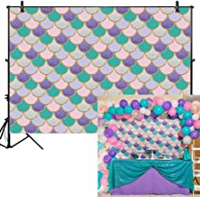 Allenjoy 8x6ft Mermaid Themed Backdrop for Party Photography Under The Sea Newborn Baby Shower Purple Pink Scales Girl Princess Glare Glitter Birthday Banner Photo Studio Booth Background Photocall