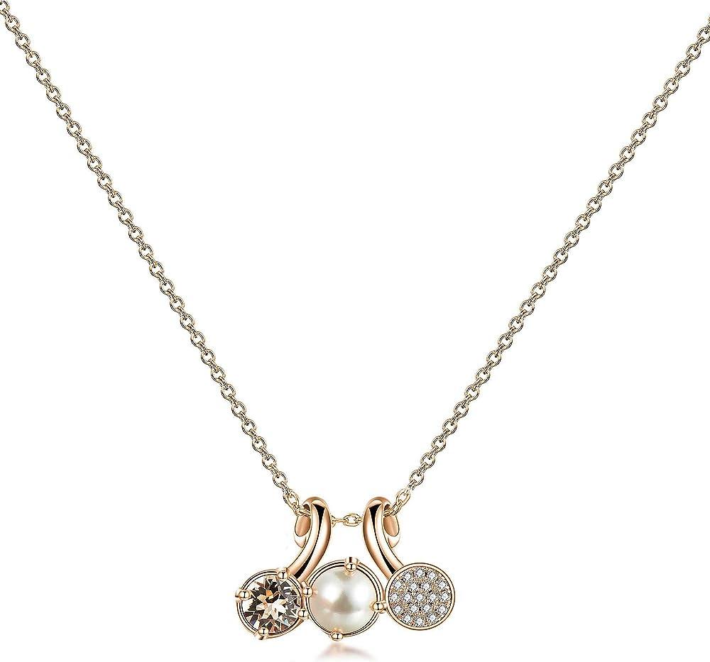 Brosway affinity trendy  collana per donna  in ottone con finitura in galvanica oro rosa e cristalli swarovski BFF70