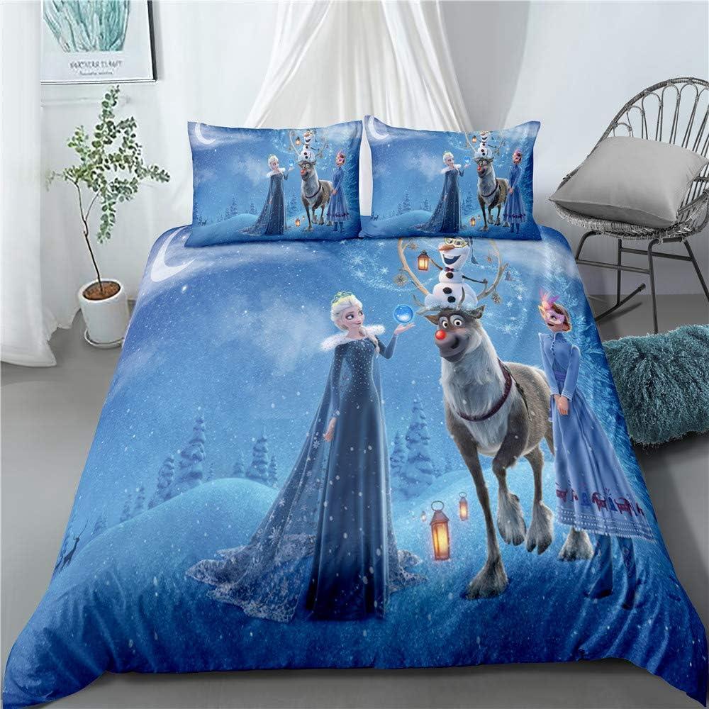 BLSM Parure de lit avec housse de couette et taie d'oreiller assortie Motif Elsa Anna Olaf Motif Disney La Reine des neiges A