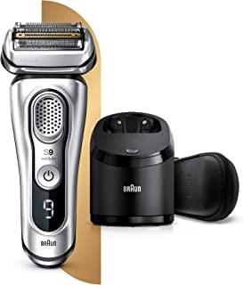 Braun Series 9 9390cc Latest Generation Electric Shaver, Clean and Charge Station, Leather Case, Silver