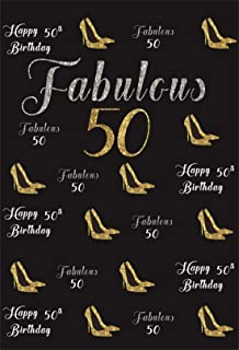 YEELE 5x7ft Gold 50th Birthday Photography Backdrop Hight Heel Step and Repeat Golden Glitter Shiny Background Fifty Years Old Age Party Decoration Photo Banner Photobooth Props Digital Wallpaper