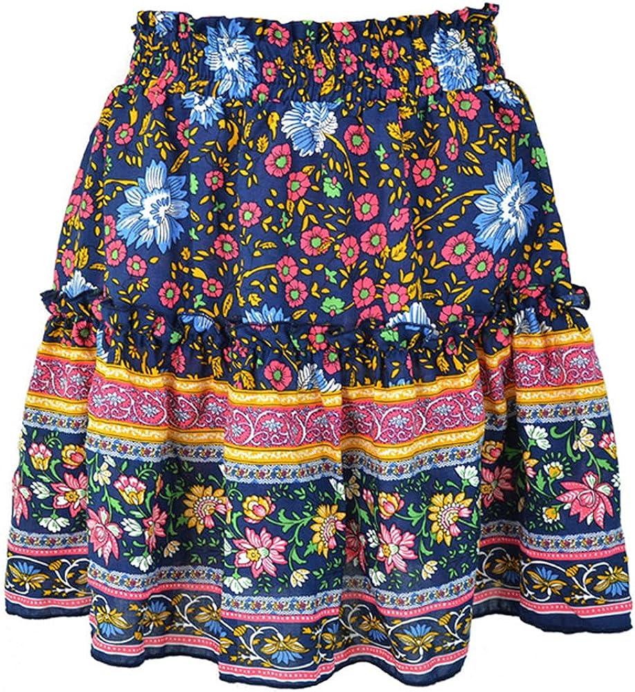NP Summer Floral Print Beach Loose Short Skirt Women Ruffles