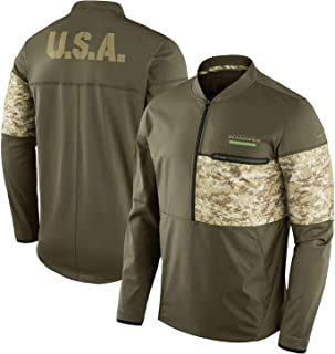 Nike Seattle Seahawks Hybrid Salute To Service Half-Zip Sideline Jacket (Large)
