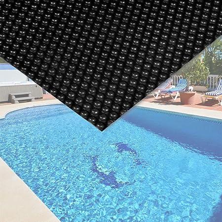 WilTec Cubierta Solar Piscina isotérmica Negra Rectangular 4x6m Lona térmica Protectora Cobertor Piscina