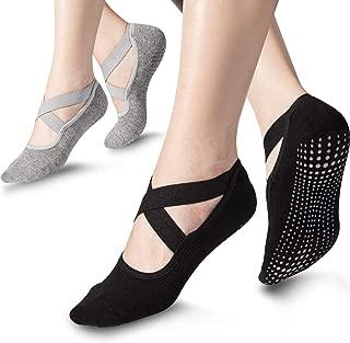 Bememo 2 Pairs Yoga Socks for Women Non Slip Sock with Grips Barre Socks Pilates Socks (Black, Gray)