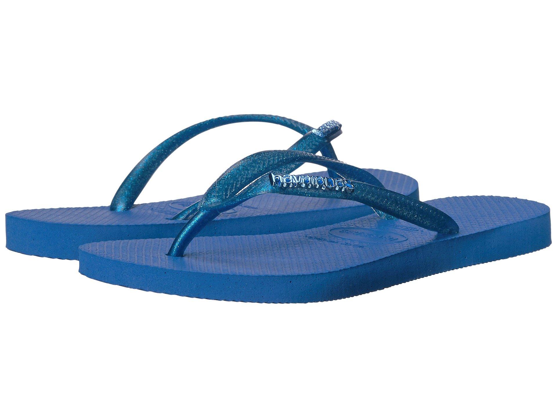 80c8d135136f70 Havaianas Slim Logo Metallic Flip Flops In Blue Star