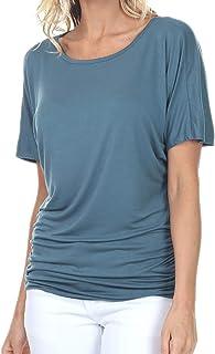 iliad USA Womens Short Sleeve Dolman Drape Top with Side Shirring