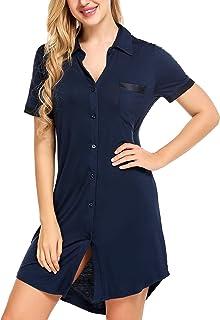 Avidlove Women's Nightshirt Short Sleeve Button Down Nightgown V-Neck Boyfriend Sleepshirt Pajama Dress
