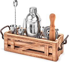 11 Piece Mixology Bartender Kit with Rustic Stand - Bar Set Cocktail Shaker Set with Cocktail Kit Cards - Premium Bar Kit ...