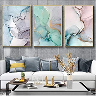 Print on Canvas Teal Marble Abstract Artwork Canvas Wall Art Poster Prints Painting Picture Home Office Decor (40x50cm)x3P...
