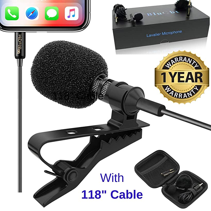 Lavalier Lapel iPhone Ipad Microphone - BluQbt Professional High Audio Quality Clip On asmr Microphone Lav Mic for YouTube Camera Vlogging 118