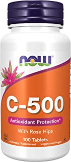 NOW Supplements, Vitamin C-500 with Rose Hips, Antioxidant Protection*, 100 Tablets