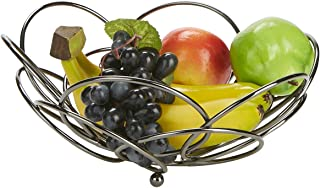 Mind Reader FRBOWL-GRY Stainless Steel Vegetable Display, Bowl, Fruit Storage Basket, Kitchen, Countertop-Onyx, One Size Gray