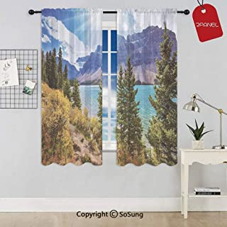 National Park Banff Canadian Rockies Mountain Trees Glacial Lake Sunny Sky Rod Pocket Sheer Voile Window Curtain Panels for Kids Room,Kitchen,Living Room & Bedroom,2 Panels,Each 52x63 Inch,Aqua Mauve
