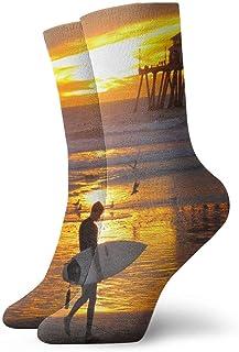 tyui7, Surf City North Carolina Calcetines de compresión antideslizantes Cosy Athletic 30cm Crew Calcetines para hombres, mujeres, niños