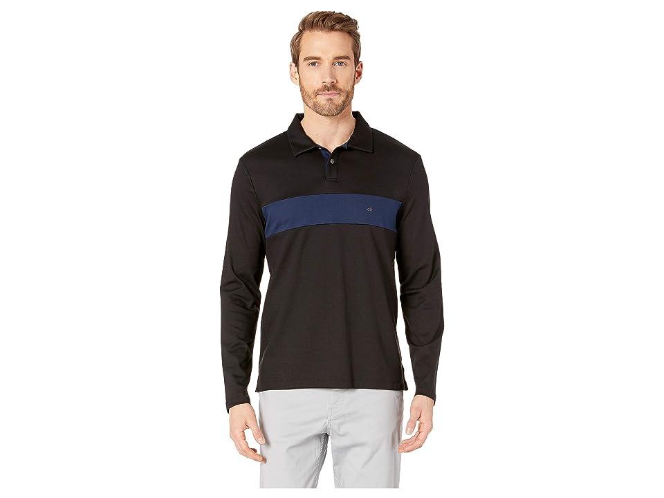 Calvin Klein Long Sleeve Color Blocked Rugby Polo (Black) Men