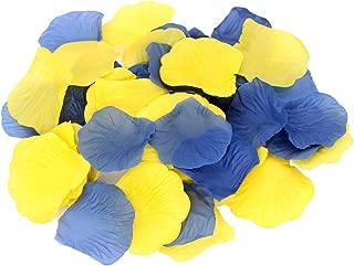 ALLHEARTDESIRES 600 Pack Yellow Royal Blue Party Decorative Flower Rose Petals for Wedding Confetti Minion Birthday Aisle Runner Flower Girl Basket Baby Shower Grad Graduation Decoration